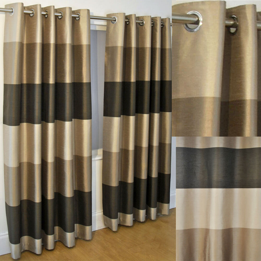 Mayfair Woven Stripe Coffee Mocha Lined Ring Top Curtains