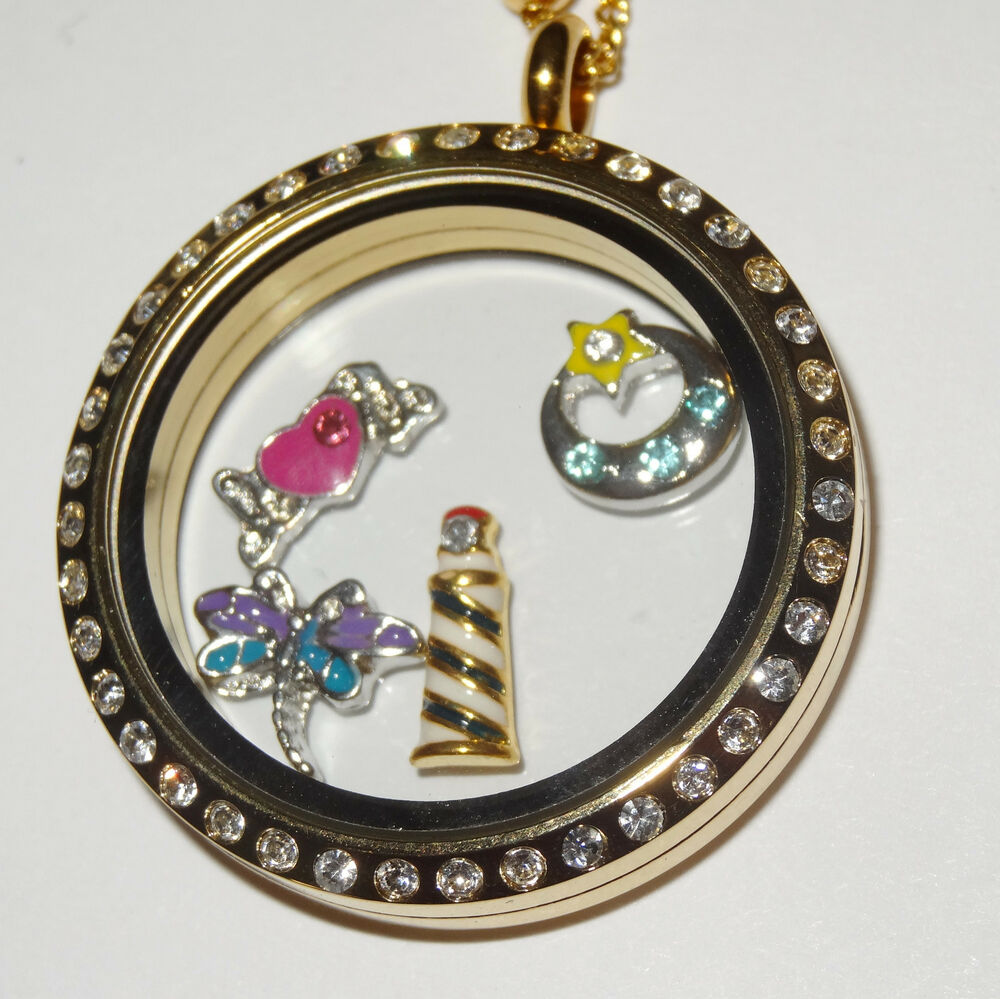 30mm stainless steel gold cz floating charm locket fits