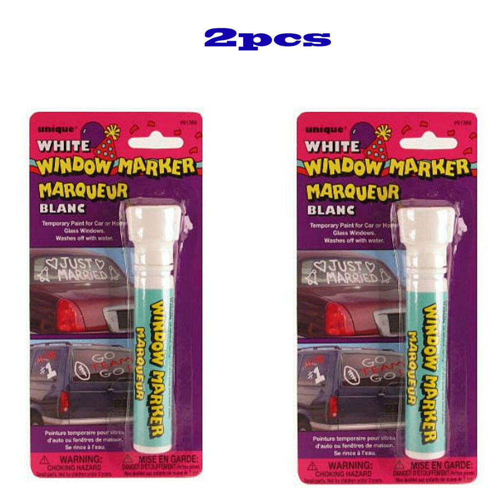 2 Pcs WHITE Color Window Markers Temporary Paint For Car