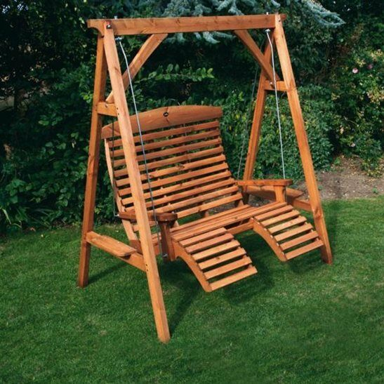 Afk wooden garden luxury comfort swing seat beech stained uk made ebay - Garden furniture swing seats ...