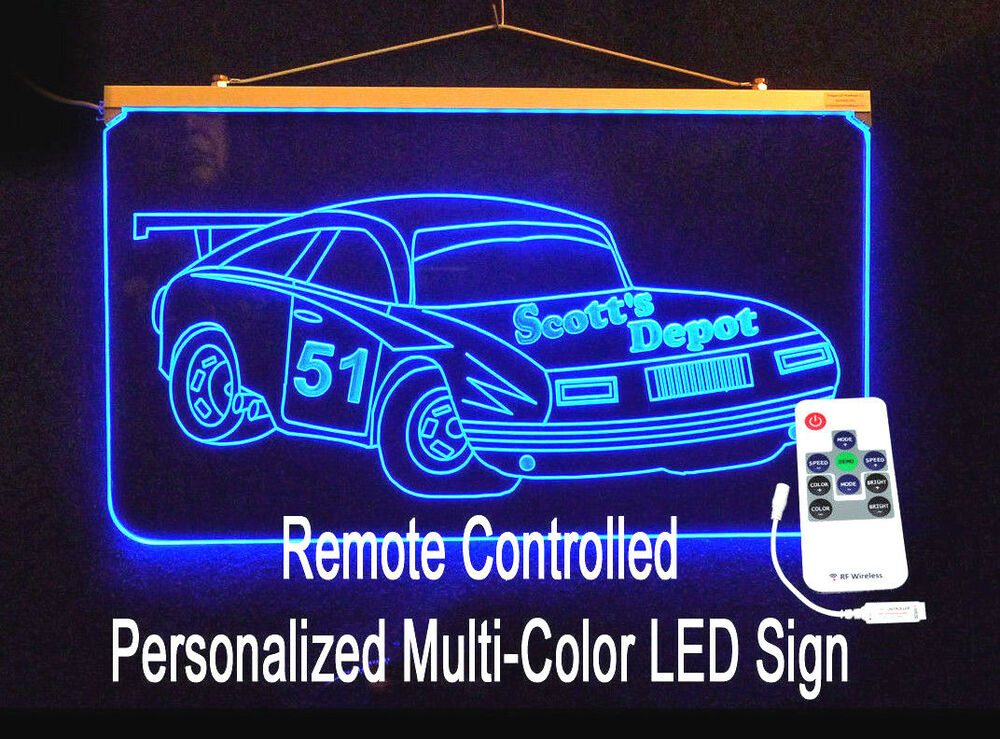 led sign custom garage cave personalized race signs