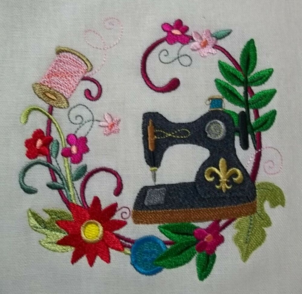 Embroidered quilt block panel quot sewing wreath pure irish