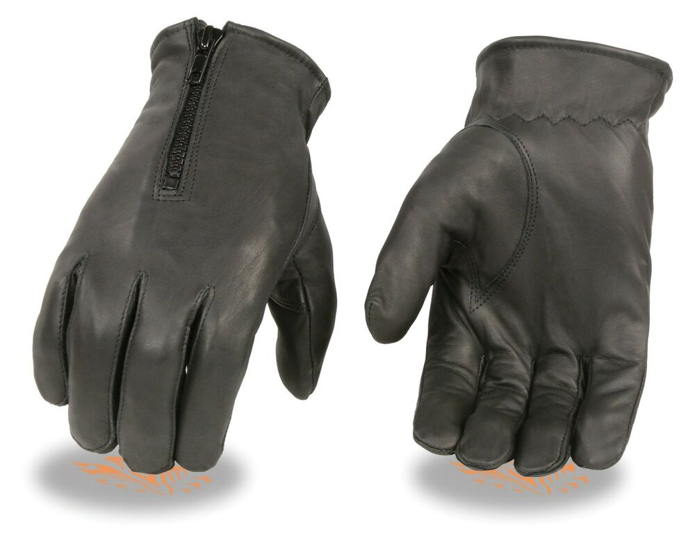 mens unlined zippered leather driving glove motorcycle or