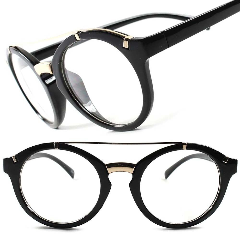 Black Frame Glasses With Gold : Classic Vintage Retro Mens Womens Nerd Round Black Gold ...