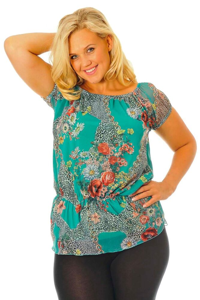 New ladies top plus size womens floral gypsy style tunic