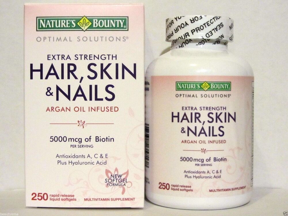Nature\'s Bounty HAIR SKIN and NAILS 250 Softgels Multivitamin 5000 ...
