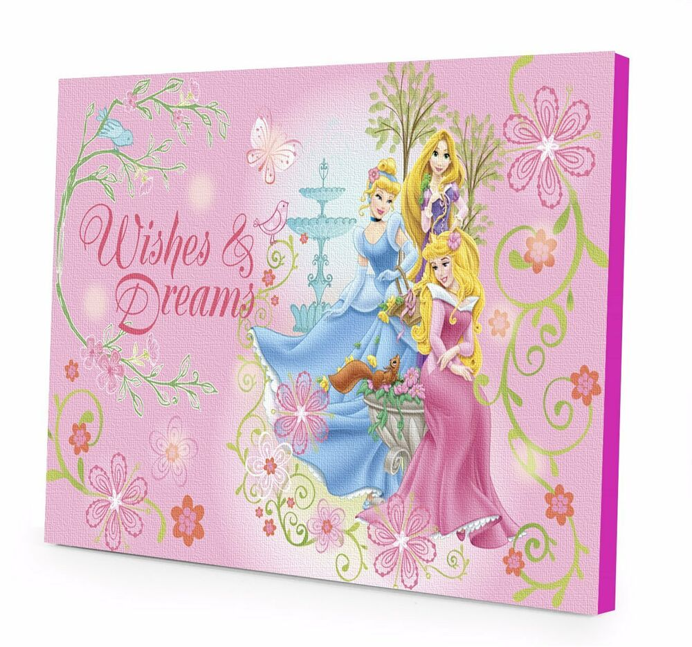 Home Kids Bedroom Disney Princess Canvas LED Wall Art ...