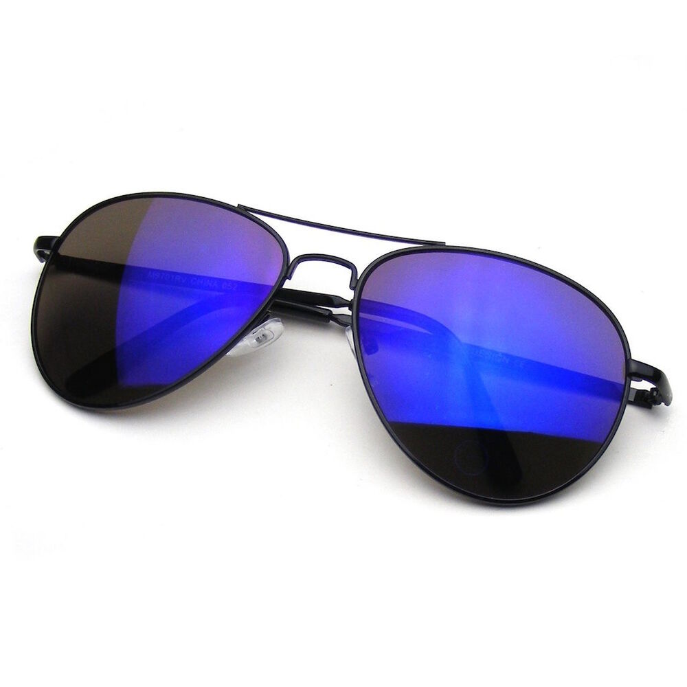 These are classic tear drop mirror lens aviator sunglasses with wire arms and blade hinges. The best sunglasses for men or women, the mirrored aviator is Iconic! .