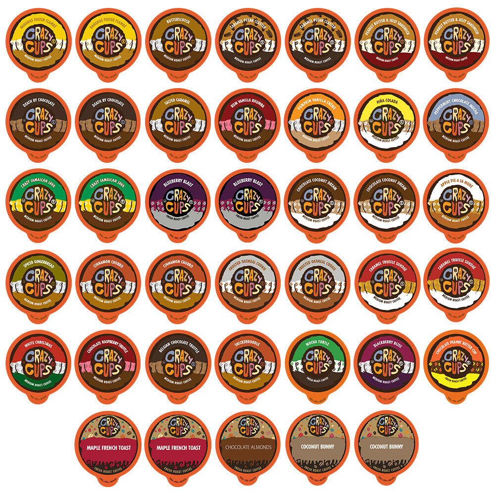 Crazy Cups Flavored Coffee K Cup Variety Pack Sampler, 40