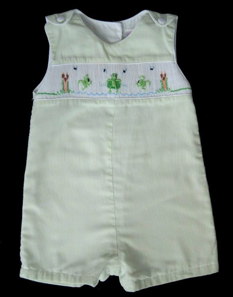 Boys PETIT AMI Green Smocked FROG POND Shortall 6m Romper ...