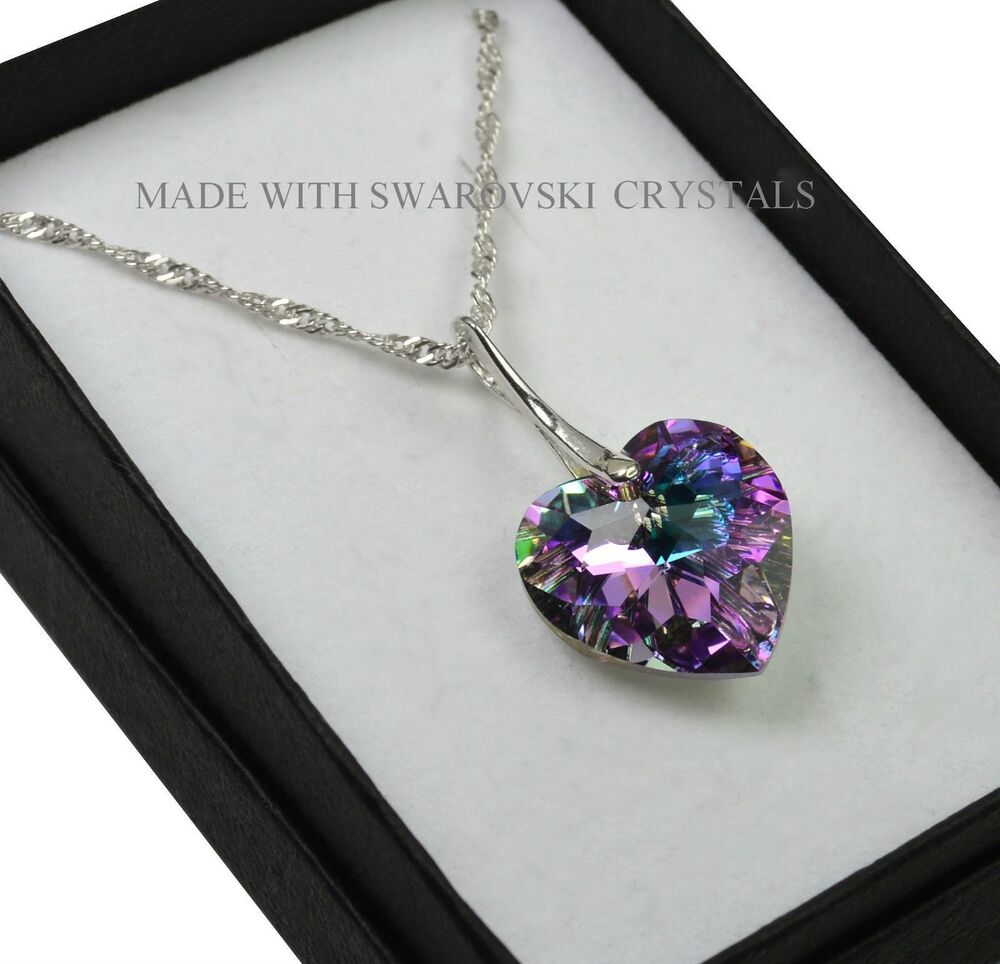 925 Sterling Silver Necklace Vitrail Light 18mm Heart