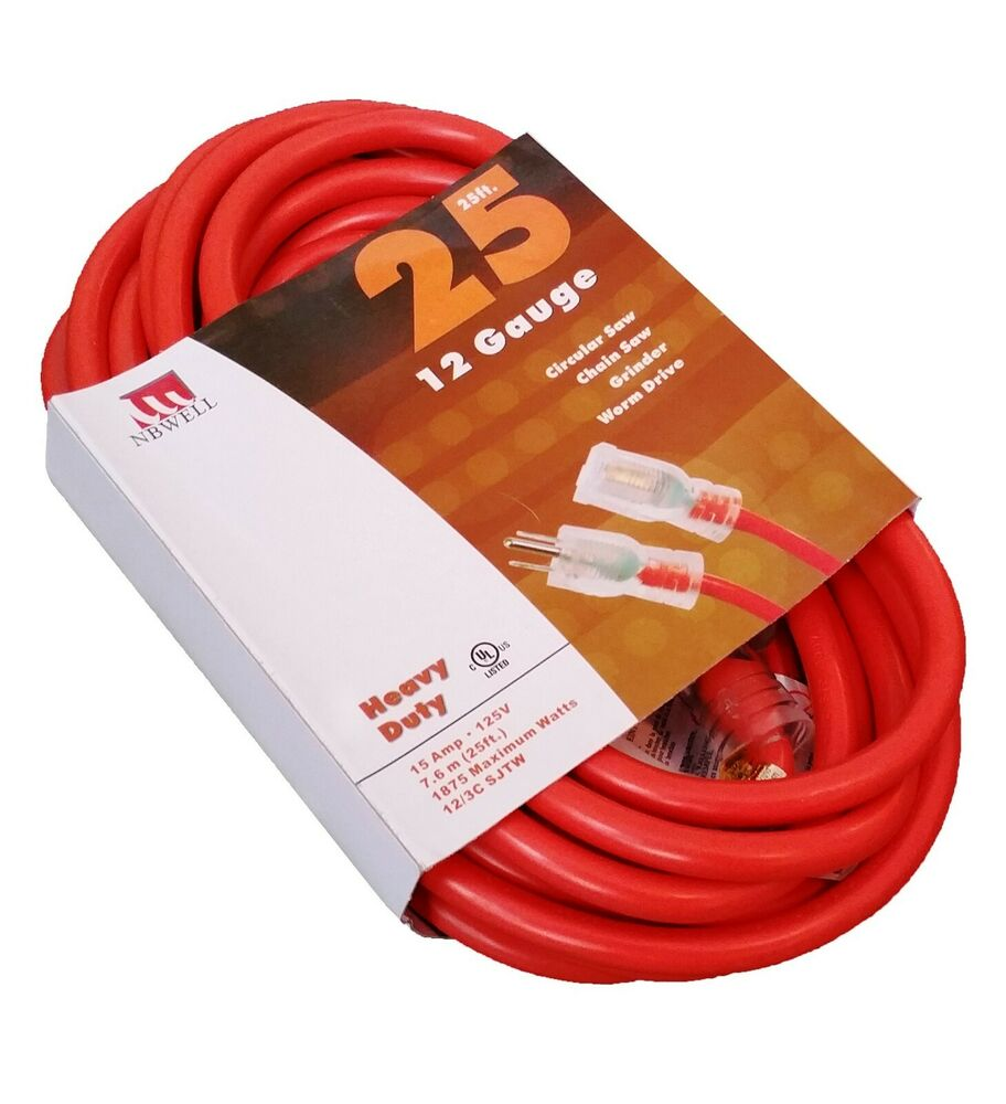 25 Ft Extension Cord 14 Gauge Lit End Awg Heavy Duty Ul