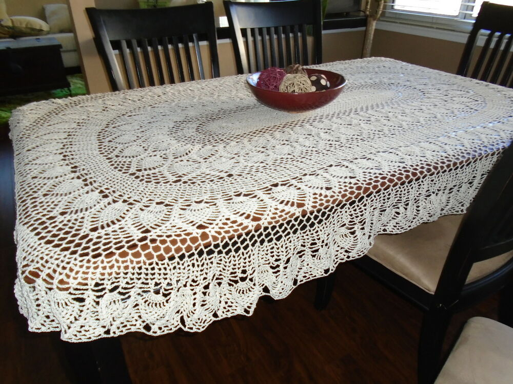 Hand crochet Old Fashion Pineapple Oval tablecloth hand crocheted...