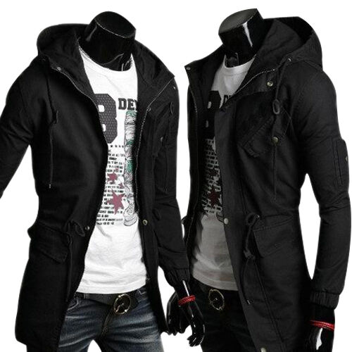 mens slim fit coat hoodies long trench parka hooded jacket winter military tops ebay. Black Bedroom Furniture Sets. Home Design Ideas