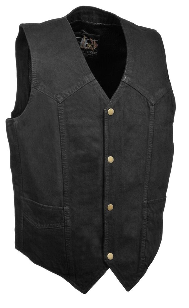 Mens Vests Our leather motorcycle vests are all in American sizing that offer ample length, are fully lined and come in a range of pricing. Some are concealment vests, others offer the look and feel of a police style vest, and others are side laced with up to 10 pockets.