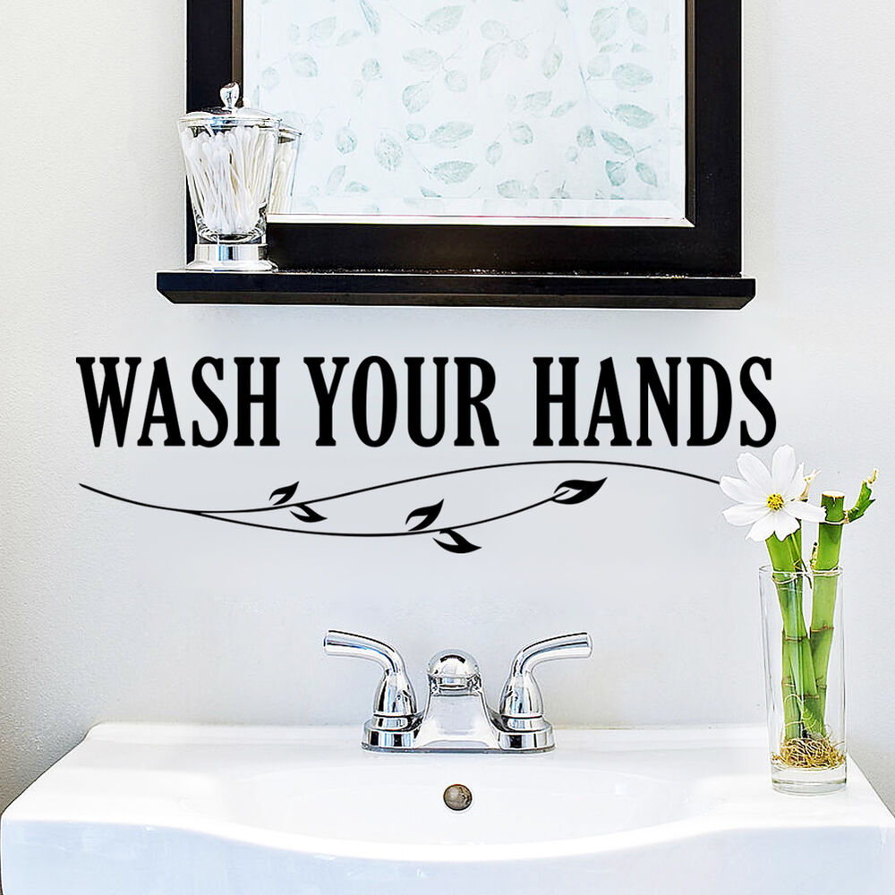Wash your hands bathroom vinyl wall quote decal home decor for Home decorations on ebay