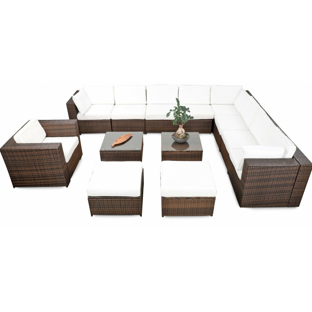 38tlg xxxl polyrattan gartenm bel garten eck loungem bel set garnitur sitzgruppe ebay. Black Bedroom Furniture Sets. Home Design Ideas