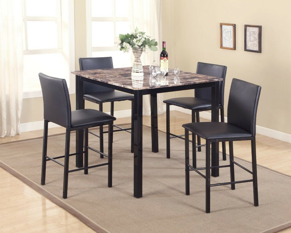 New Contemporary 5 Piece Counter Height Table Dining Set W Faux Marble Top