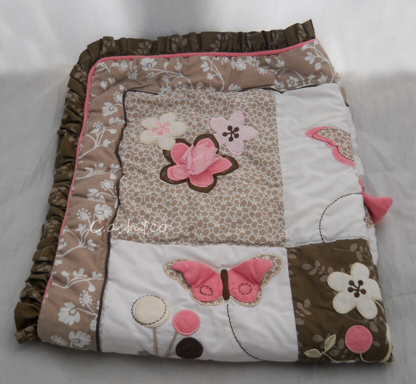 Cocalo Crib Quilt Comforter Blanket Mia Rose Pink Brown