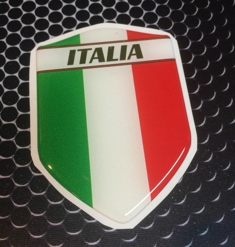 Italia Italy Proud Shield Flag Domed Decal Emblem Car