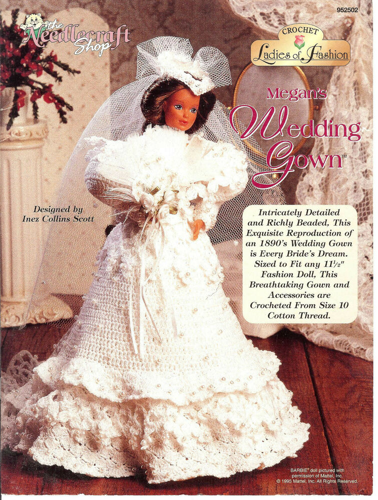 Crochet Ladies of Fashion PATTERN fit Barbie Megan\'s Wedding Gown ...