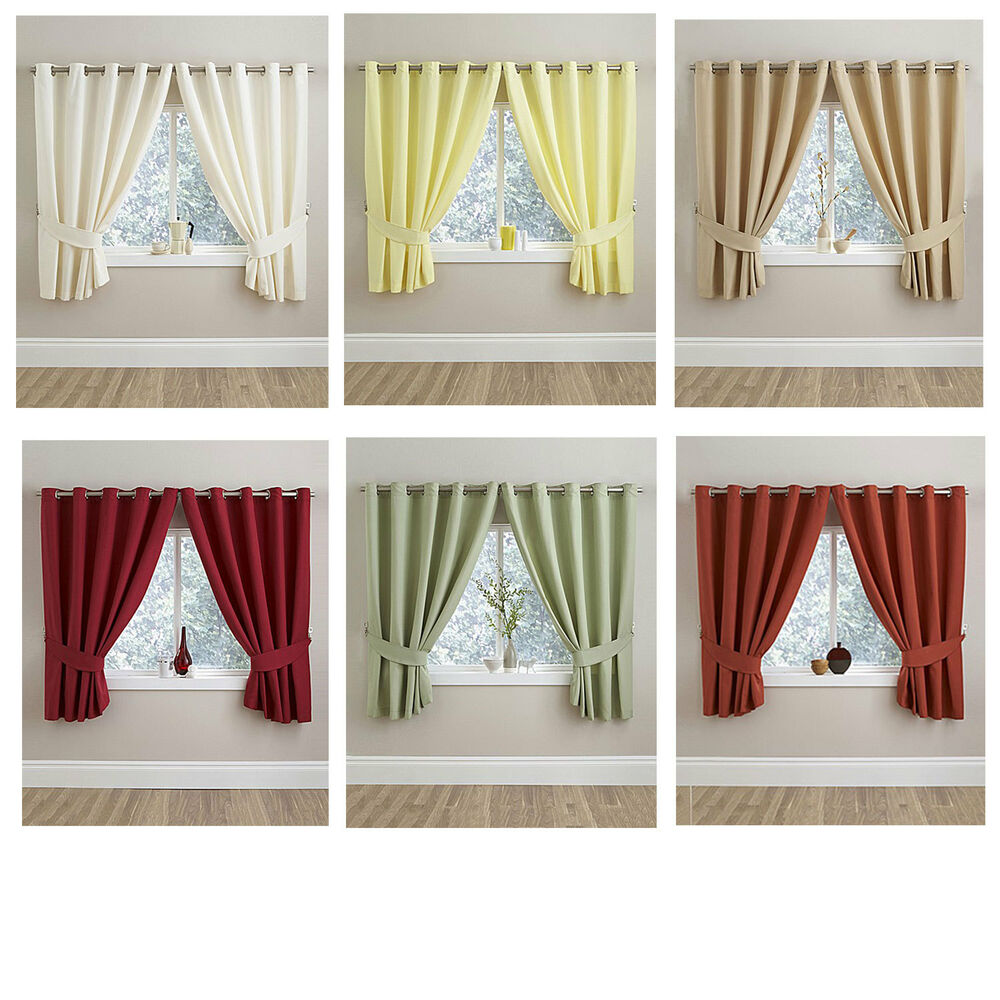 Tie Back Kitchen Curtains: Half Panama Kitchen Ring Top Curtains With FREE Tie Backs