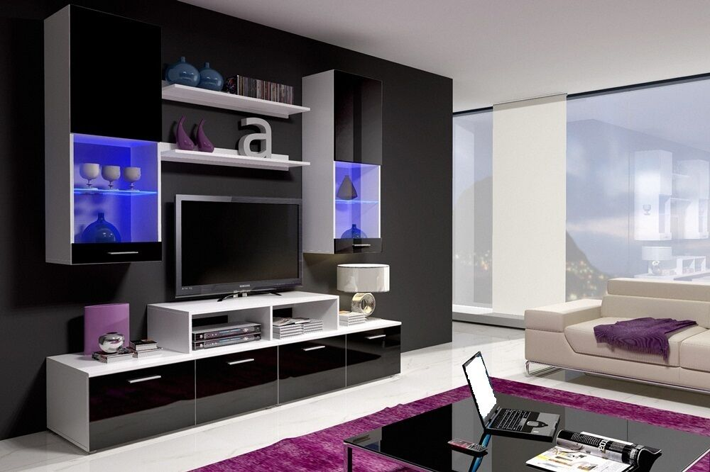 Led Tv Unit Furniture : TV stand, wall unit, cabinet, hanging cupboards, LED, high gloss ...