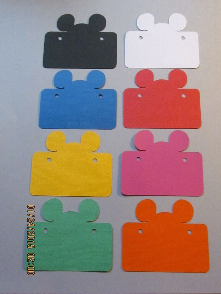 Minnie Mouse And Mickey Mouse Kissing >> Mickey Mouse Tags------DISNEY----Bright Colors---Cricut Die Cuts-----Worldwide | eBay