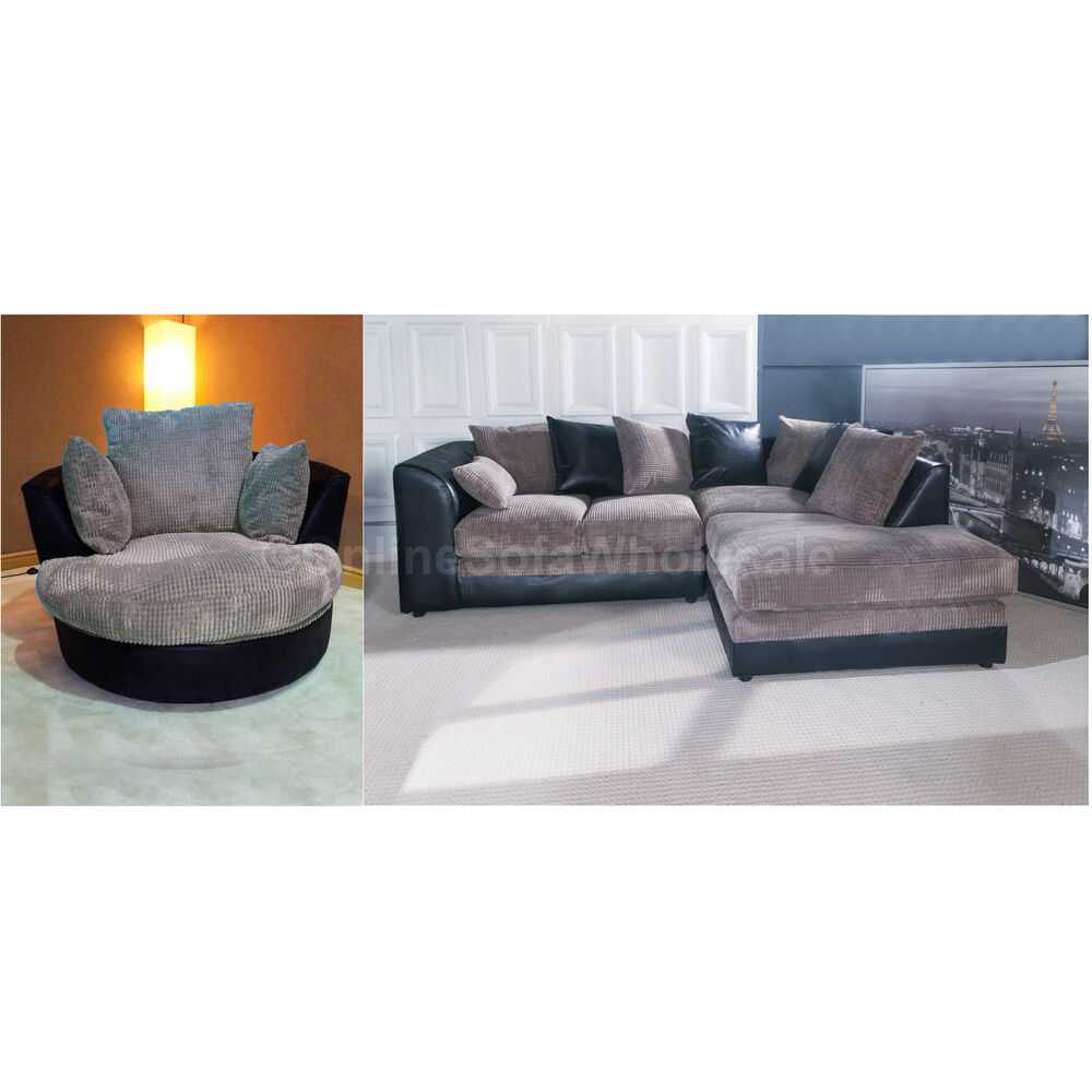 Dylan Corner Sofa Right Hand Plus Swivel Chair In Black