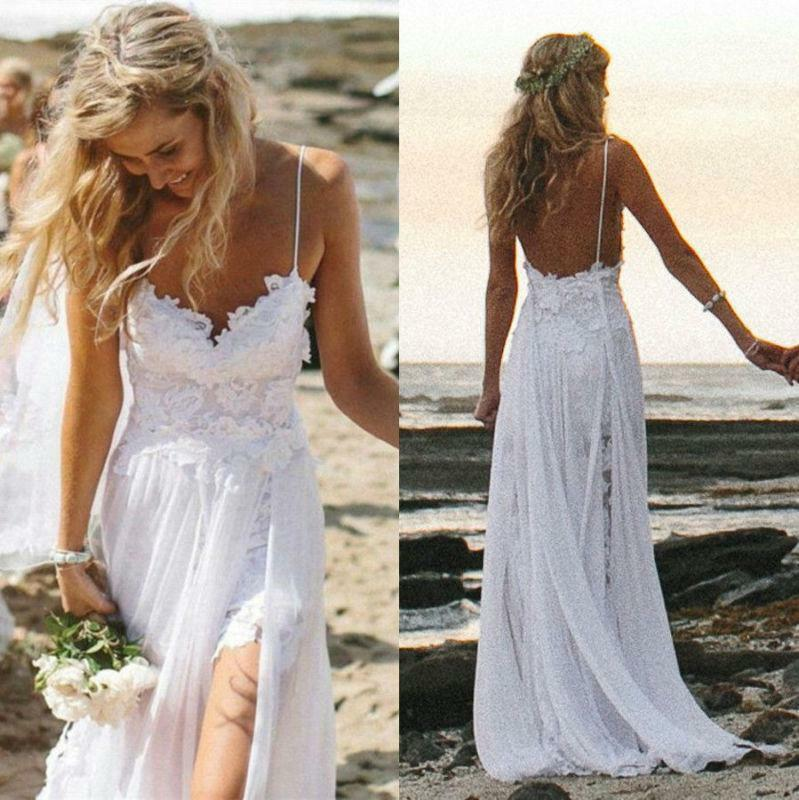 Beach Wedding Gown: Sexy Fancy Beach Wedding Dresses Spaghetti Backless White