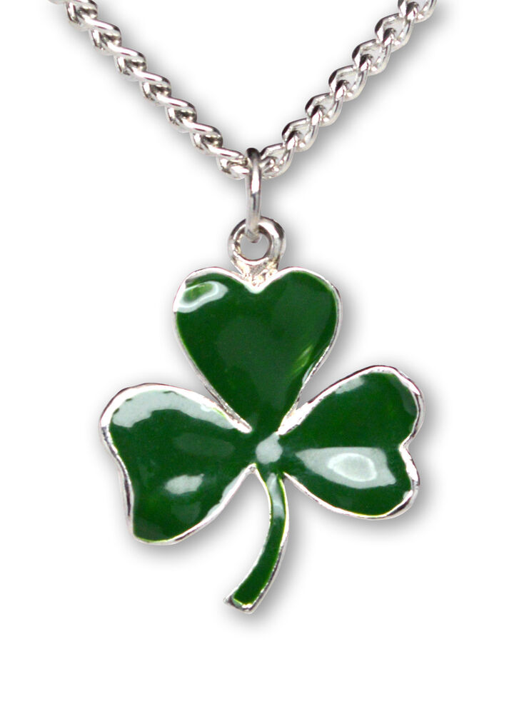 shamrock pendant necklace green enamel on pewter