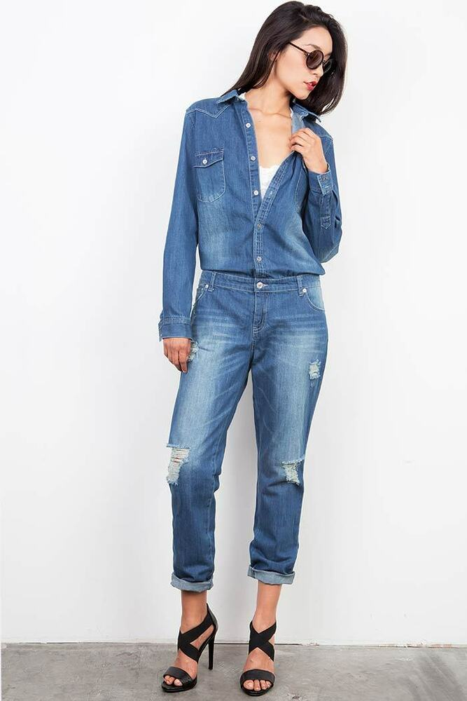 New Women Denim Jumpsuit Romper Pants Jeans Long Sleeve Button ...