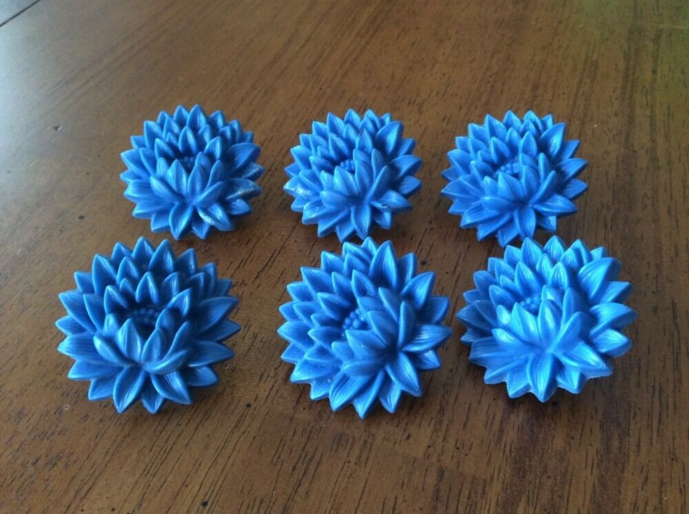 Set of 6 Vintage Blue Flowers Curtain Tie Back Push Pins | eBay
