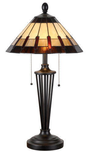 Stained Glass Tiffany Bronze 2 Light Table Lamp Ebay