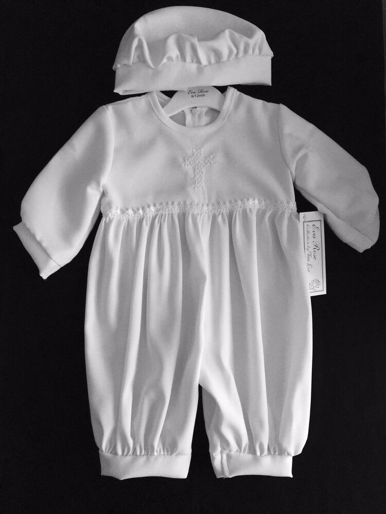BABY BOYS WHITE CHRISTENING ROMPER/OUTFIT/SUIT,CAP,CELTIC ...