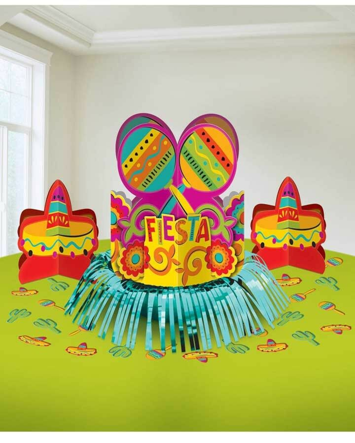 Mexican Import Furniture Mexican Fiesta Centerpiece + Confetti Table Decoration Kit Birthday ...