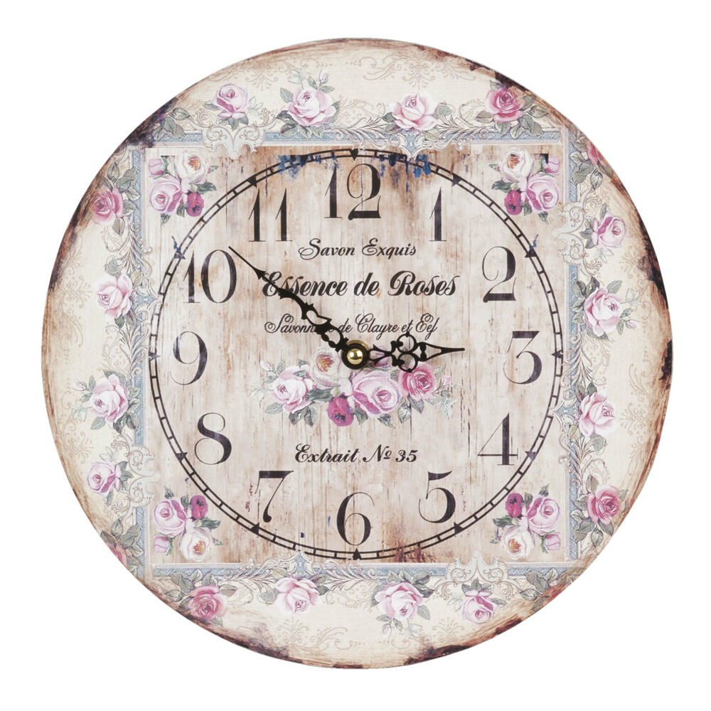 clayre eef vintage wanduhr nostalgie uhr landhausstil shabby chic rosen romantik ebay. Black Bedroom Furniture Sets. Home Design Ideas