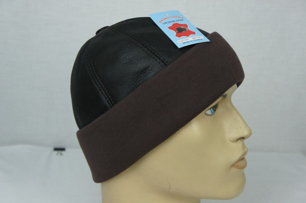 Brown Shearling Leather Fur Knit Beanie Cuff Round Bucket ...