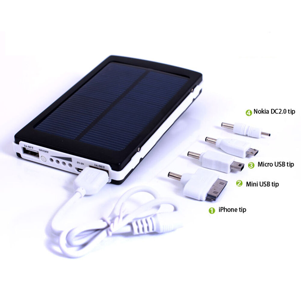 10000mah usb solar power panel external mobile battery charger dual power bank ebay. Black Bedroom Furniture Sets. Home Design Ideas