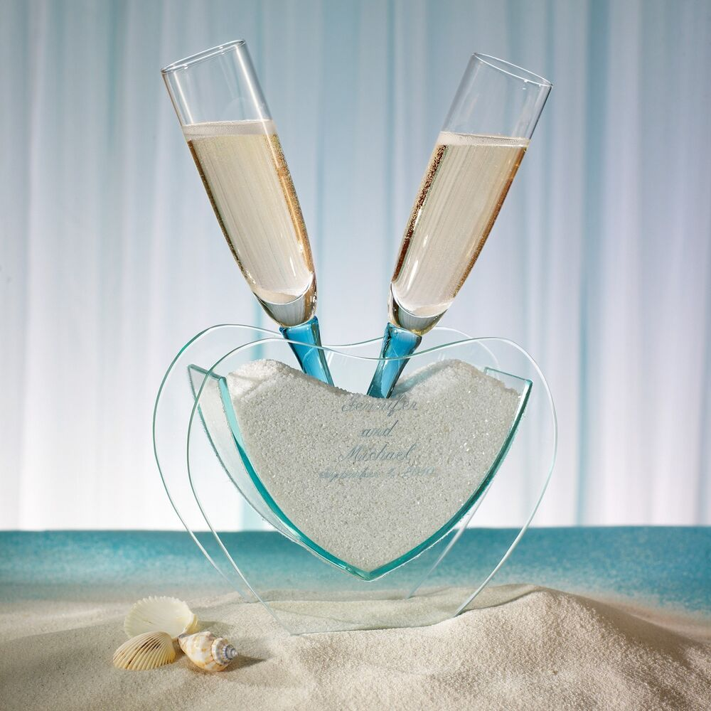 Beach Champagne: Heart Vase With Toasting Glasses Beach Theme Wedding
