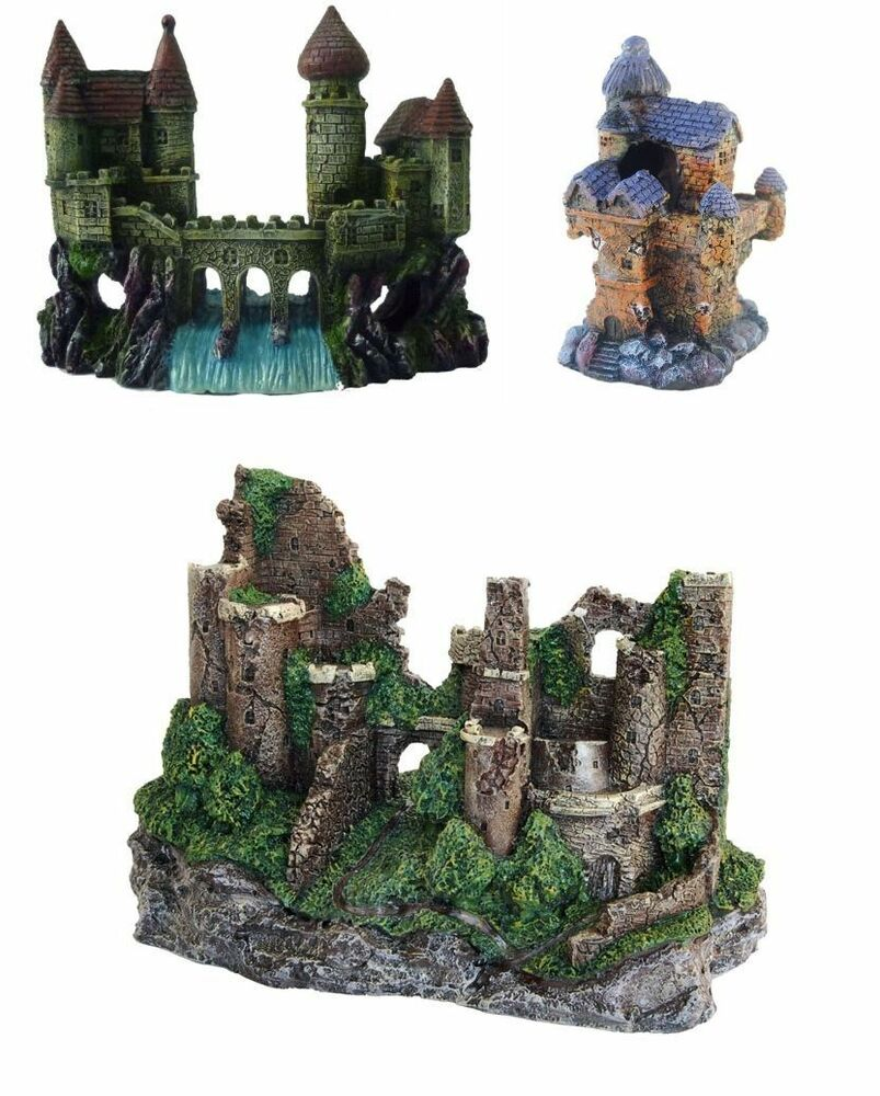 Large castle ruin enchanted or castle waterfall aquarium for Aquarium waterfall decoration