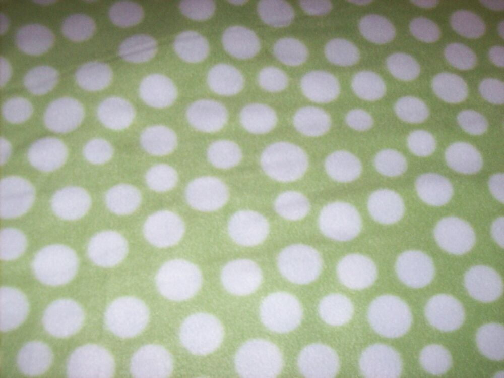 Lime Green White Polka Dots Fleece Personalized Blanket Baby Toddler 36x30