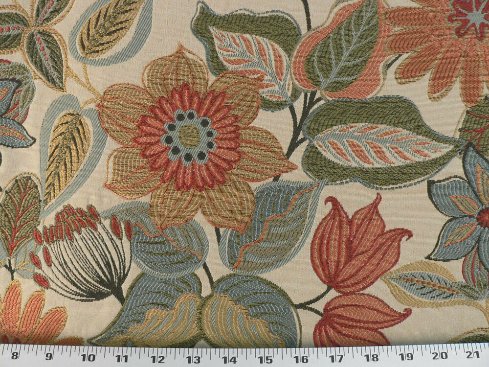 Drapery upholstery fabric jacquard floral vivid colors for Floral upholstery fabric