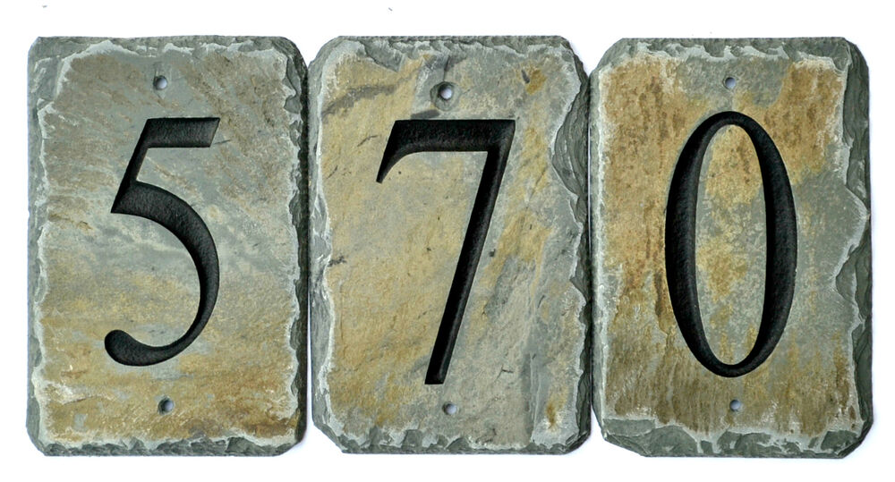 HOUSE NUMBER STONE TILES / Address /SIGN /CARVED SLATE
