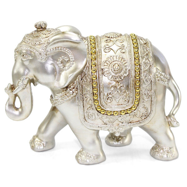 Feng shui light gold 7 large elegant elephant trunk statue gift home decor ebay Silver elephant home decor
