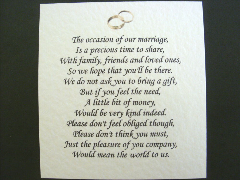 Wedding Poems For Cash Not Gifts : 20 Wedding poems asking for money gifts not presents Ref No 13 eBay