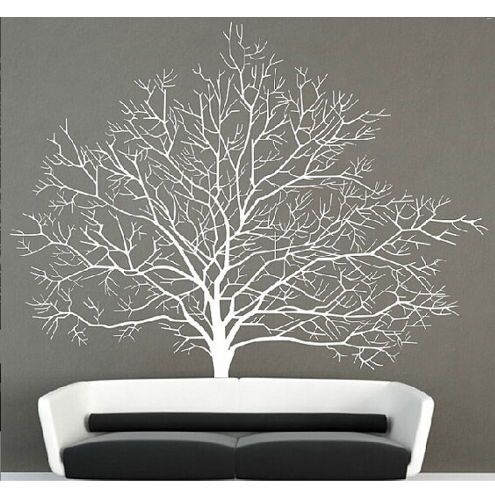 White birch tree wall decal branch forest decals large for Large tree template for wall