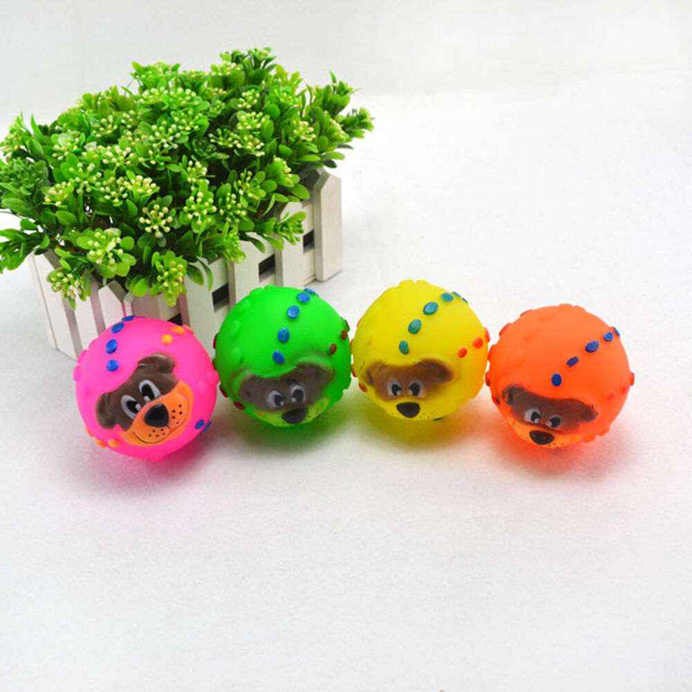 Small Toy Balls : Latex face ball squeaky balls fetch toy for bright small