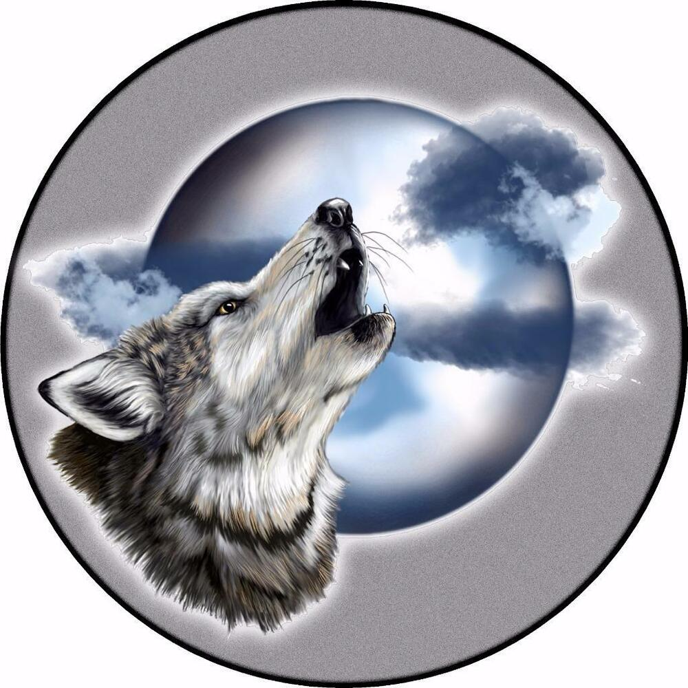 Spare Wheel Cover Sticker Wolf Barking Moon Off Road 4x4