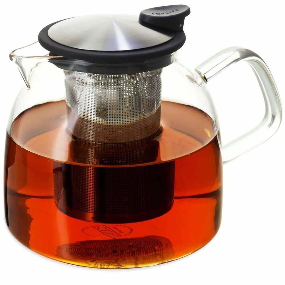 Forlife bell glass teapot with basket infuser 43 ounce 1280ml black graphite ebay - Tea pots with infuser ...